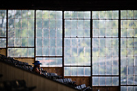 BALTIMORE, MD - MAY 19: A woman sits alone in the stands on Black-Eyed Susan Day at Pimlico Race Course on May 19, 2017 in Baltimore, Maryland.(Photo by Douglas DeFelice/Eclipse Sportswire/Getty Images)