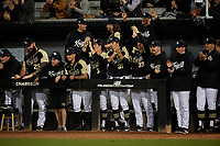 UCF Knights bench celebrates during a game against the Siena Saints on February 14, 2020 at John Euliano Park in Orlando, Florida.  UCF defeated Siena 2-1.  (Mike Janes/Four Seam Images)