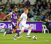 2nd February 2019, HBF Park, Perth, Australia; A League football, Perth Glory versus Wellington Phoenix; Michael Kopczynski of Wellington Phoenix controls the ball in front of Diego Castro of the Perth Glory