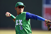 Lexington Legends third baseman Mauricio Ramos (3) warms up before a game against the Hagerstown Suns on May 19, 2014 at Whitaker Bank Ballpark in Lexington, Kentucky.  Lexington defeated Hagerstown 10-8.  (Mike Janes/Four Seam Images)