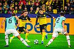 05.11.2019, Signal Iduna Park, Dortmund , GER, Champions League, Gruppenphase, Borussia Dortmund vs Inter Mailand, UEFA REGULATIONS PROHIBIT ANY USE OF PHOTOGRAPHS AS IMAGE SEQUENCES AND/OR QUASI-VIDEO<br /> <br /> im Bild | picture shows:<br /> Mario Goetze (Borussia Dortmund #10) und Thorgan Hazard (Borussia Dortmund #23) gegen Stefan de Vrij (Inter #6) und Diego Godin (Inter #2), <br /> <br /> Foto © nordphoto / Rauch