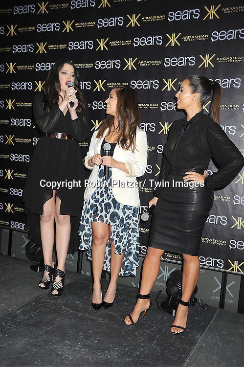 Khloe Kardashian, Kourtney Kardashian and Kim Kardashian make an appearance at the Sears in Yonkers.to celebrate the one year anniversary of their Kardashian Kollection on September 14, 2012 in Yonkers.
