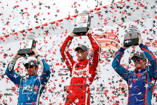2017 Verizon IndyCar Series - Firestone Grand Prix of St. Petersburg<br /> St. Petersburg, FL USA<br /> Sunday 12 March 2017<br /> Sebastien Bourdais , Simon Pagenaud , Scott Dixon celebrating in victory lane<br /> World Copyright:Sam Cobb/LAT Images