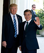 United States President Donald J. Trump welcomes President Moon Jae-in of the Republic of Korea at the White House in Washington, DC on Friday, June 30, 2017.  <br /> Credit: Ron Sachs / CNP