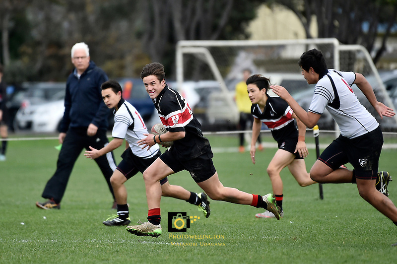 U15 Rugby - Scots College v Christ's College at Scots College, Wellington, New Zealand on Tuesday 21 June 2016. <br /> Photo by Masanori Udagawa. <br /> www.photowellington.photoshelter.com.