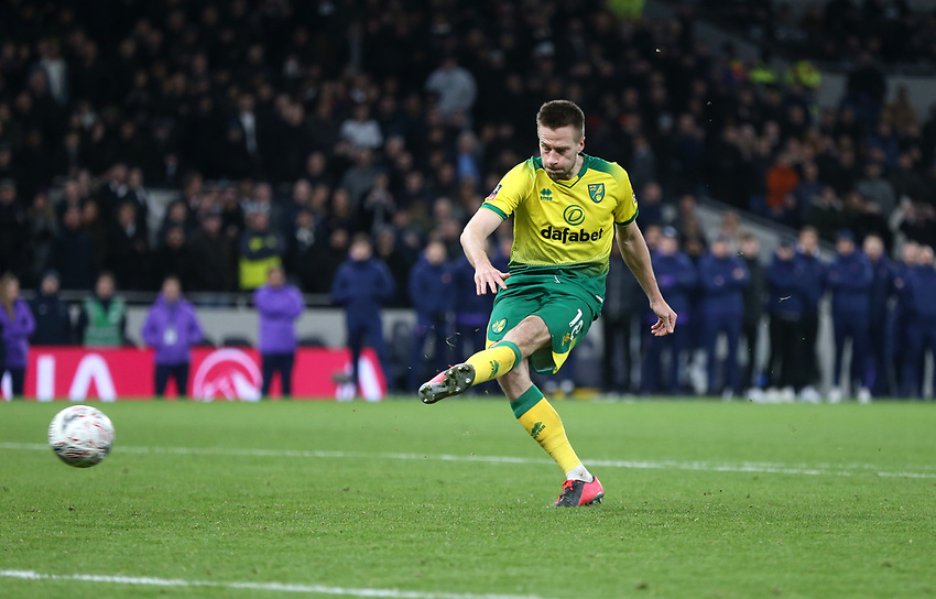 Norwich City's Marco Stiepermann scores his penalty during the shoot-out<br /> <br /> Photographer Rob Newell/CameraSport<br /> <br /> The Emirates FA Cup Fifth Round - Tottenham Hotspur v Norwich City - Wednesday 4th March 2020 - Tottenham Hotspur Stadium - London<br />  <br /> World Copyright © 2020 CameraSport. All rights reserved. 43 Linden Ave. Countesthorpe. Leicester. England. LE8 5PG - Tel: +44 (0) 116 277 4147 - admin@camerasport.com - www.camerasport.com