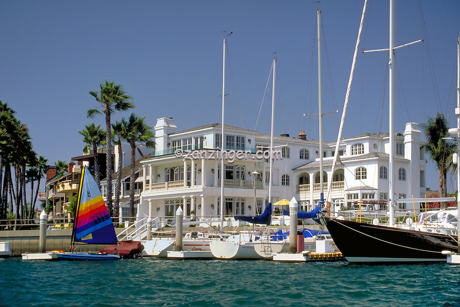 Treasure Island, Naples, Long Beach, CA; Canal, Close up, Boats, Houses, Sailboats, Yachts,