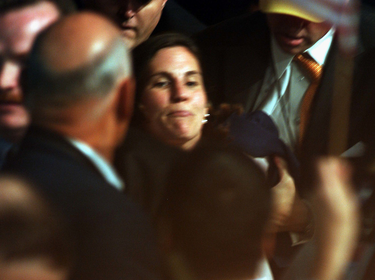 9/02/04.2004 REPUBLICAN NATIONAL CONVENTION--A heckler is removed from the convention hall as President George W. Bush makes his acceptance speech. CONGRESSIONAL QUARTERLY PHOTO BY SCOTT J. FERRELL