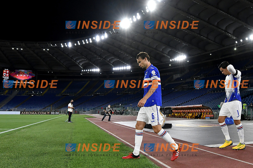 Albin Ekdal of UC Sampdoria during the Serie A football match between AS Roma and UC Sampdoria at Olimpico stadium in Rome ( Italy ), June 24th, 2020. Play resumes behind closed doors following the outbreak of the coronavirus disease. AS Roma won 2-1 over UC Sampdoria. <br /> Photo Andrea Staccioli / Insidefoto