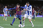 04.02.2012. Barcelona, Spain. Isaac Cuenca (L) and Cadamuro(R) in action during La Liga match between FC Barcelona against Real Sociedad at Camp Nou