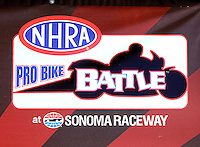 Jul 30, 2016; Sonoma, CA, USA; Detailed view of the logo for the NHRA pro stock motorcycle Pro Bike Battle specialty race during qualifying for the Sonoma Nationals at Sonoma Raceway. Mandatory Credit: Mark J. Rebilas-USA TODAY Sports