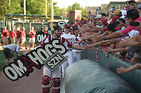 NWA Democrat-Gazette/J.T. WAMPLER Arkansas' Casey Opitz celebrates with the fans after beating Ole Miss Monday June 10, 2019 during the NCAA Fayetteville Super Regional at Baum-Walker Stadium in Fayetteville. Arkansas won 14-1 and will advance to the College World Series in Omaha.