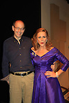 """Associate Writer As The World Turns Hal Corley (also AMC) poses with Colleen Zenk - As The World Turns - stars i Looped - about Tallulah Bankhead - original premiere - at Stageworks/Hudson Theater Outside The Box on July 14, 2013 running until July 28 - also stars Michael Rhodes and Steve Austin Young. """"All he needed was one line . . . All Tallulah needed was eight hours . . .""""  (Photo by Sue Coflin/Max Photos)"""