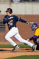 Steven Proscia #19 of the Virginia Cavaliers follows through on his swing versus the East Carolina Pirates at Clark-LeClair Stadium on February 20, 2010 in Greenville, North Carolina.   Photo by Brian Westerholt / Four Seam Images