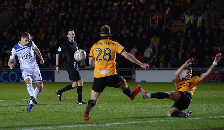 Leicester City's Marc Albrighton sees his shot blocked <br /> <br /> Photographer Ian Cook/CameraSport<br /> <br /> The Emirates FA Cup Third Round - Newport County v Leicester City - Sunday 6th January 2019 - Rodney Parade - Newport<br />  <br /> World Copyright &copy; 2019 CameraSport. All rights reserved. 43 Linden Ave. Countesthorpe. Leicester. England. LE8 5PG - Tel: +44 (0) 116 277 4147 - admin@camerasport.com - www.camerasport.com