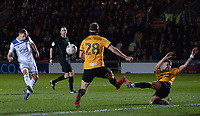 Leicester City's Marc Albrighton sees his shot blocked <br /> <br /> Photographer Ian Cook/CameraSport<br /> <br /> The Emirates FA Cup Third Round - Newport County v Leicester City - Sunday 6th January 2019 - Rodney Parade - Newport<br />  <br /> World Copyright © 2019 CameraSport. All rights reserved. 43 Linden Ave. Countesthorpe. Leicester. England. LE8 5PG - Tel: +44 (0) 116 277 4147 - admin@camerasport.com - www.camerasport.com