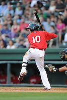 Designated hitter Mauricio Dubon (10) of the Greenville Drive bats in a game against the Augusta GreenJackets on Thursday, June 11, 2015, at Fluor Field at the West End in Greenville, South Carolina. Dubon is the No. 23 prospect of the Boston Red Sox, according to Baseball America. Greenville won, 10-1. (Tom Priddy/Four Seam Images)