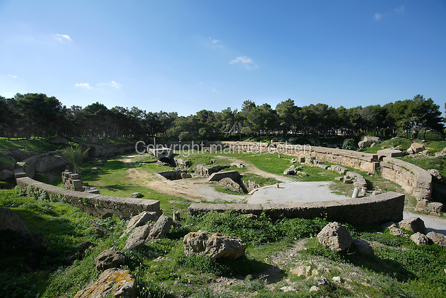 General view of the Roman Amphitheatre, Carthage, Tunisia, pictured on January 28, 2008, in the morning. Carthage was founded in 814 BC by the Phoenicians who fought three Punic Wars against the Romans over this immensely important Mediterranean harbour. The Romans finally conquered the city in 146 BC. Subsequently it was conquered by the Vandals and the Byzantine Empire. Today the site is a UNESCO World Heritage. The theatre with 50,000 seats dates back to the 2nd century and showed performances of Naumachia (re-enacted naval battle scenes). Picture by Manuel Cohen.