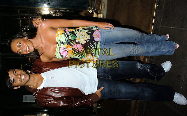 ANDY SCOTT LEE & MICHELLE HEATON.Tsunami Appeal Charity Club Night, Elysium, Cafe Royal, London,19th January 2005..full length couple strapless floral print top boob tube jeans.Ref: CAN.www.capitalpictures.com.sales@capitalpictures.com.©Capital Pictures.
