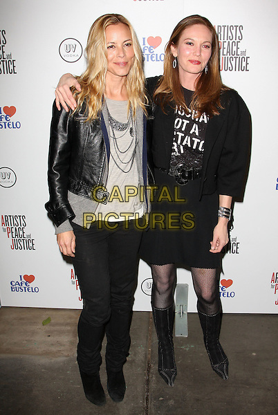 MARIO BELLO & DIANE LANE .Artists for Peace and Justice Haiti Benefit held At The Bergamot Station, Santa Monica, California, USA, .28th January 2010..full length black leather jacket grey gray top skirt arm around slogan waist belt tights knee high boots .CAP/ADM/KB.©Kevan Brooks/AdMedia/Capital Pictures.