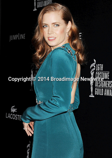Pictured: Amy Adams<br /> Mandatory Credit &copy; Joseph Gotfriedy/Broadimage<br /> 16th Costume Designers Guild Awards - Arrivals<br /> <br /> 2/22/14, Beverly Hills, California, United States of America<br /> <br /> Broadimage Newswire<br /> Los Angeles 1+  (310) 301-1027<br /> New York      1+  (646) 827-9134<br /> sales@broadimage.com<br /> http://www.broadimage.com