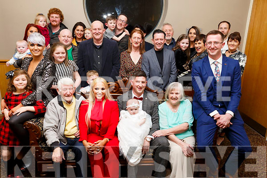 Baby Eden Lee Walsh from Lisard Tralee, christening party in the Ballyroe Heights Hotel on Saturday ;ast.  <br /> Seated l-r, Andrea Collins (Godmother), Eddie O&rsquo;Brien (Great-Grandfather), Leanne Walsh, <br /> Padraig Walsh, Ann O&rsquo;Brien and Gearoid Walsh (Godfather).