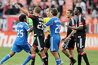 Philadelphia Union Sheanon Williams (25) gets ejected from the game by referee Mark Geiger. D.C. United tied The Philadelphia Union 1-1 at RFK Stadium, Saturday August 19, 2012.