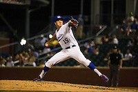 Nick Burdi (15) of the Chattanooga Lookouts pitches during a game between the Jackson Generals and Chattanooga Lookouts at AT&T Field on May 7, 2015 in Chattanooga, Tennessee. (Brace Hemmelgarn/Four Seam Images)