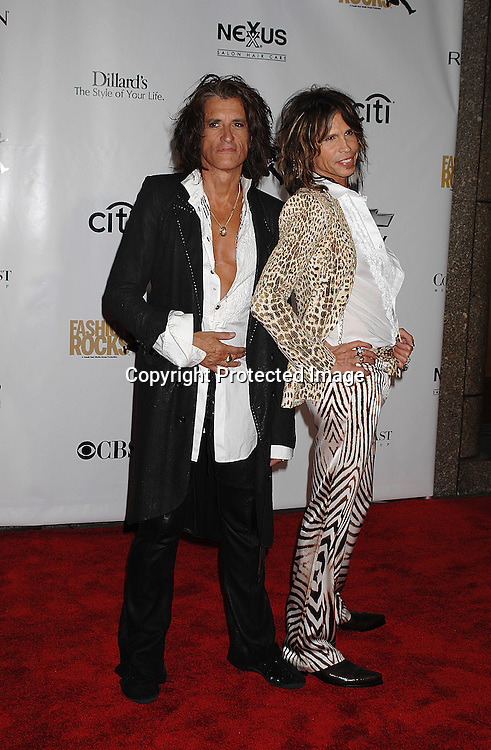 Joe Perry and Steven Tyler ..arriving for The Fourth Annual Fashion Rocks concert presented by Conde Nast Media Group on ..September 6, 2007 at Radio City Music Hall. ..Photo by Robin Platzer, Twin Images....212-935-0770