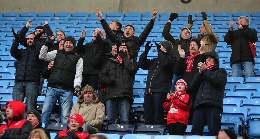 Fleetwood Town fans during the second half<br /> <br /> Photographer Andrew Vaughan/CameraSport<br /> <br /> Football - The Football League Sky Bet League One - Coventry City v Fleetwood Town - Saturday 27th February 2016 - Ricoh Stadium - Coventry   <br /> <br /> &copy; CameraSport - 43 Linden Ave. Countesthorpe. Leicester. England. LE8 5PG - Tel: +44 (0) 116 277 4147 - admin@camerasport.com - www.camerasport.com