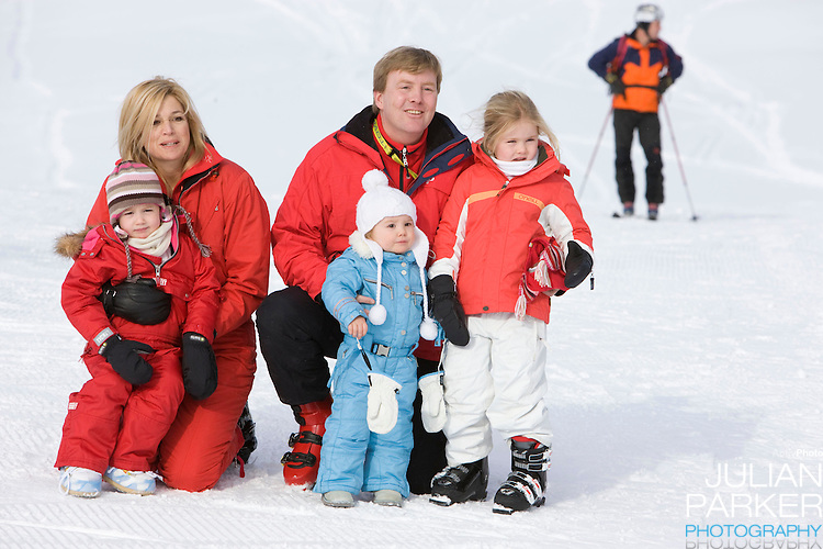 Crown Prince Willem Alexander, and Crown Princess Maxima of Holland with Daughters, Princess Alexia ( left ), Princess Catharina Amalia  ( right ) and Princess Ariane ( centre ) attend a Photocall with Members of The Dutch Royal Family during their Winter Ski Holiday in Lech Austria