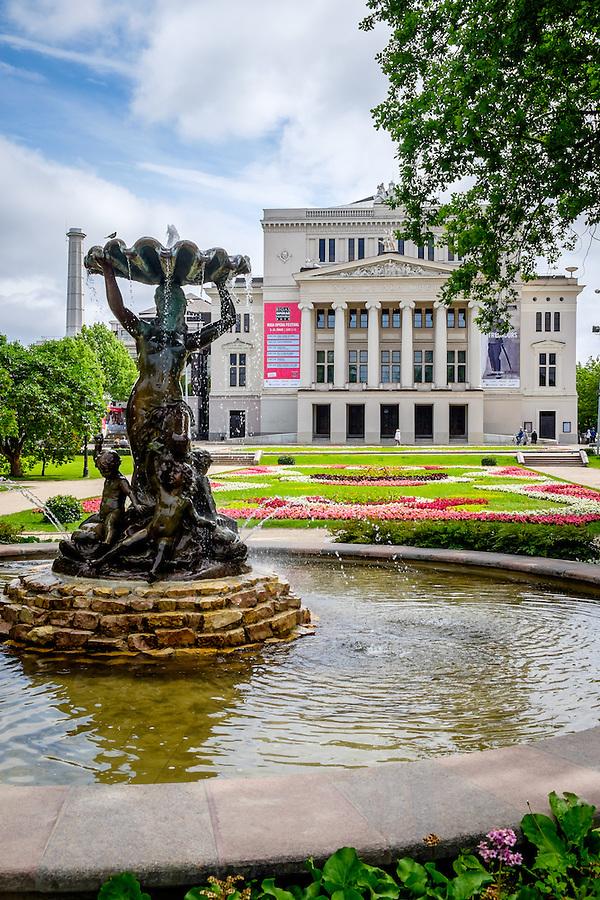 RIGA, LATVIA - CIRCA JUNE 2014: View of National Opera in Riga