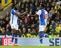 Blackburn Rovers' Lucas Joao (right) celebrates with Ryan Nyambe after scoring the equalising goal (1-1)<br /> <br /> Photographer David Shipman/CameraSport<br /> <br /> The EFL Sky Bet Championship - Norwich City v Blackburn Rovers - Saturday 11th March 2017 - Carrow Road - Norwich<br /> <br /> World Copyright &copy; 2017 CameraSport. All rights reserved. 43 Linden Ave. Countesthorpe. Leicester. England. LE8 5PG - Tel: +44 (0) 116 277 4147 - admin@camerasport.com - www.camerasport.com