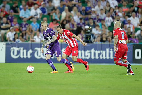 03.04.2016. NIB Stadium, Perth, Australia. Hyundai A League. Perth Glory versus Melbourne City. Andy Keogh breaks free towards the goal during the second half.