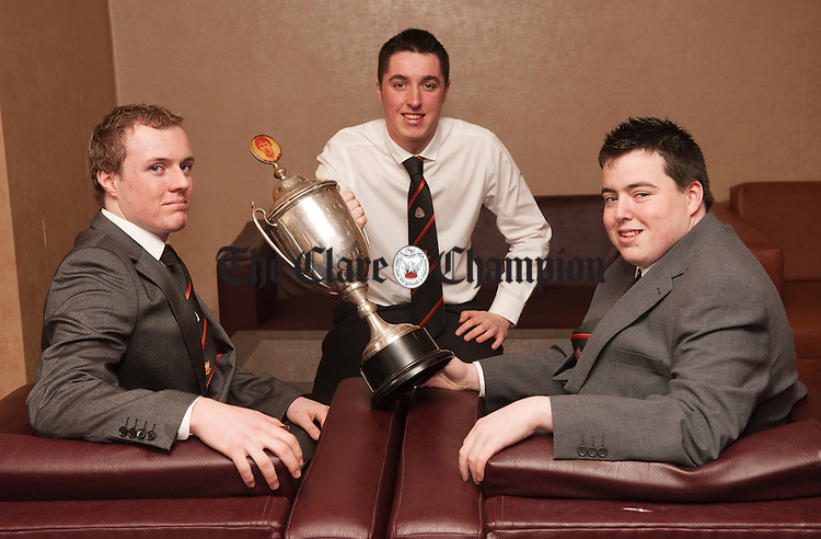 Ryan Power, Eoghan Donnellan and Niall Gavin at the Ballyea-Clondegad victory social in the West County Hotel, Ennis. Photograph by John Kelly.