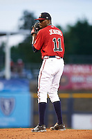 Mississippi Braves pitcher Tyrell Jenkins (11) gets ready to deliver a pitch during a game against the Pensacola Blue Wahoos on May 28, 2015 at Trustmark Park in Pearl, Mississippi.  Mississippi defeated Pensacola 4-2.  (Mike Janes/Four Seam Images)