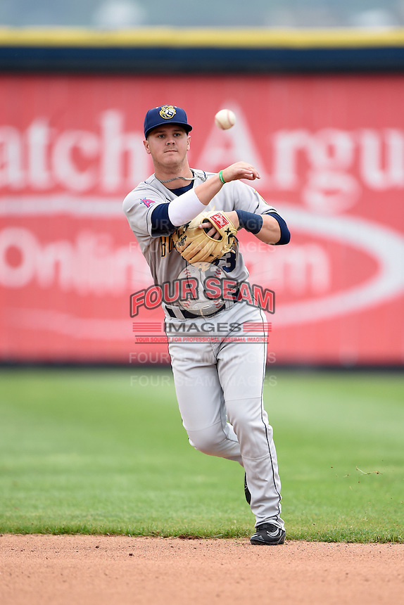 Burlington Bees second baseman Brendon Sanger (23) throws to first during a game against the Quad Cities River Bandits on May 9, 2016 at Modern Woodmen Park in Davenport, Iowa.  Quad Cities defeated Burlington 12-4.  (Mike Janes/Four Seam Images)