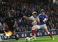 Ross Perry edging out Gavin Reilly in the Rangers v Queen of the South Quarter Final match in the Ramsdens Cup played at Ibrox Stadium, Glasgow on 18.9.12.