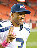 Seattle Seahawks quarterback Russell Wilson (3) poses for a photo following the game against the Washington Redskins at FedEx Field in Landover, Maryland on Monday, October 6, 2014.  The Seahawks won the game 27 - 17.<br /> Credit: Ron Sachs / CNP