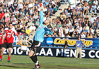 This shot from Scott Caldwell #15 of the University of Akron beats Andre Boudreaux #30 of the University of Louisville for the winning goal during the 2010 College Cup final at Harder Stadium, on December 12 2010, in Santa Barbara, California.Akron champions, 1-0.