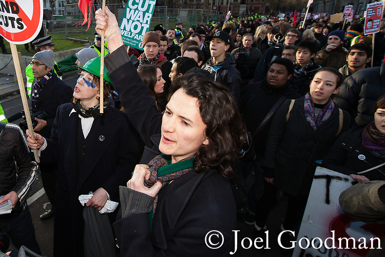 © Joel Goodman - 07973 332324 . 09/12/2010 . London , UK . Charlie Gilmour amongst protesters . Students and their supporters demonstrate in Parliament Square in London against government cuts to student support , Educational Maintenance Allowance ( EMA ) and rising university tuition fees . Photo credit : Joel Goodman