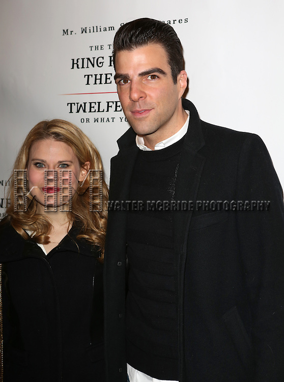 Celia Keenan-Bolger and Zachary Quinto attend the Broadway Opening Night Performance of 'Twelfth Night' at the Belasco Theatre on November 10, 2013 in New York City.