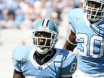 02 September 2006: UNC's Dirk Engram (82) celebrates after making a tackle on the opening kickoff. The University of North Carolina Tarheels lost 21-16 to the Rutgers Scarlett Knights at Kenan Stadium in Chapel Hill, North Carolina in an NCAA Division I College Football game.