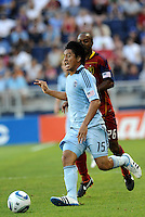 Sporting KC midfielder Roger Espinoza drives at the goal... Sporting Kansas City defeated Real Salt Lake 2-0 at LIVESTRONG Sporting Park, Kansas City, Kansas.