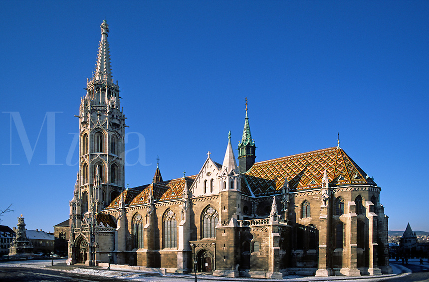 Situated atop CASTLE HILL is MATTHIAS CHURCH rebuilt in 1896 with its colourful tiled roof - BUDAPEST, HUNGARY