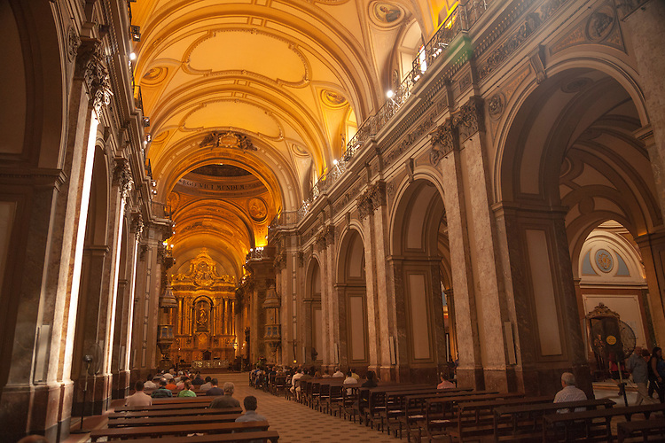 The Metropolitan Cathedral in Buenos Aires contains the guarded casket of Jose San Martin who is considered to be the country's founder.