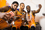 Herbalife Gran Canaria's player Royce O'Neale, Eulis Baez and Bo McCalebb taking a selfie during the final of Supercopa of Liga Endesa Madrid. September 24, Spain. 2016. (ALTERPHOTOS/BorjaB.Hojas)