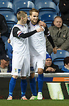 Billy McKay congratulates goalscorer Andy Shinnie as Inverness celebrate taking the lead