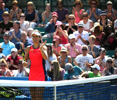 June 17th 2017, Nottingham, England;WTA Aegon Nottingham Open Tennis Tournament day 6;  Johanna Konta of Great Britain acknowledges the support of the spectators after her two sets to love victory against Magdalena Rybarikova of The Slovak Republic in the semi final