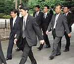 August 15, 2012, Tokyo, Japan - Chairman of the National Public Safety Commission, Jin Matsubara(L) visits Yasukuni Shrine to pay his respects for the war dead on August 15, 2012 in Tokyo, Japan. (Photo by AFLO)